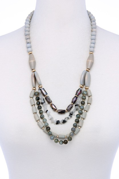 MULTI LAYERED BEADED NECKLACE - orangeshine.com