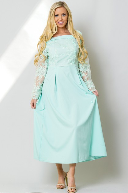 EMBROIDERED LACE LONG SLEEVE MAXI PA - orangeshine.com