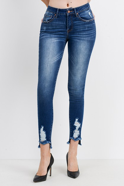 Destroyed Hem Ankle Skinny - orangeshine.com
