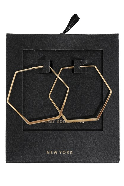 Gold Dipped Hexagon Hoop Earrings - orangeshine.com