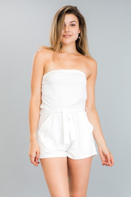 Solid Tube Belted Romper - orangeshine.com