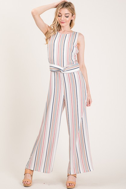 STRIPED BACK ZIPPER JUMPSUIT - orangeshine.com