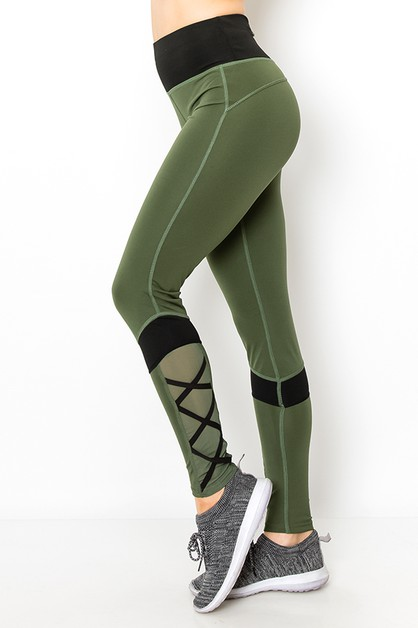 Cross mesh fashion yoga legging - orangeshine.com