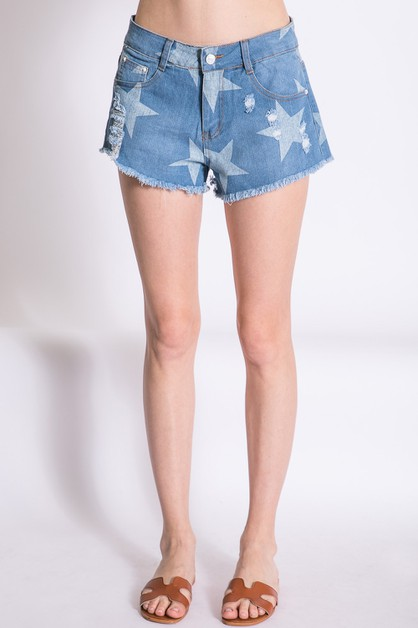 STAR PRINT DISTRESSED DENIM SHORTS - orangeshine.com