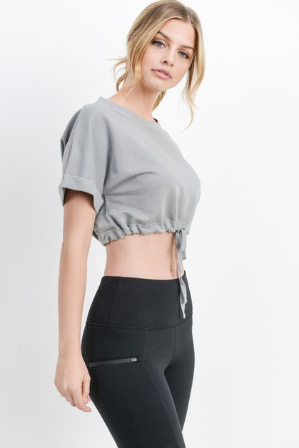 Drawstring Crop Top - orangeshine.com