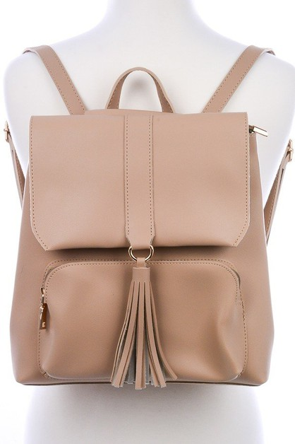 Rebecca Tassel Fold-over Backpack - orangeshine.com