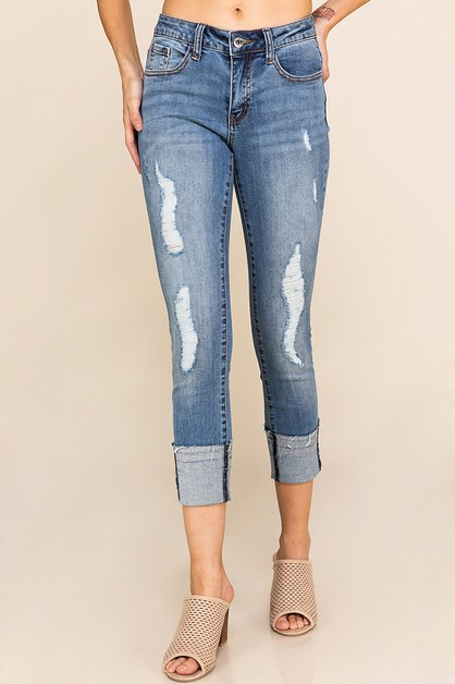 5 POCKET DISTRESSED DENIM PANTS - orangeshine.com