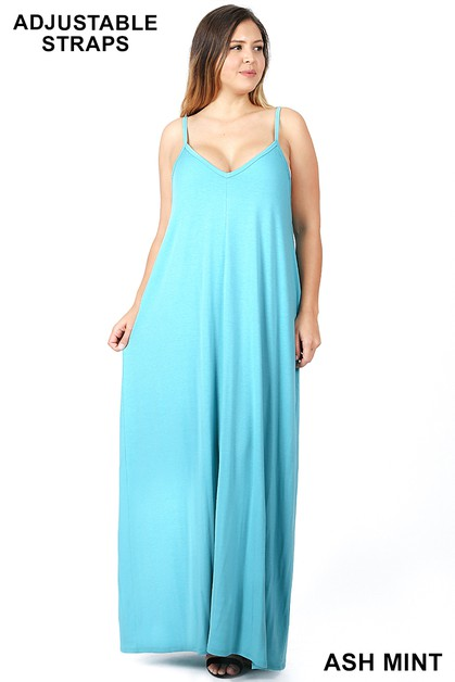 PLUS CAMI MAXI DRESS WITH POCKETS - orangeshine.com