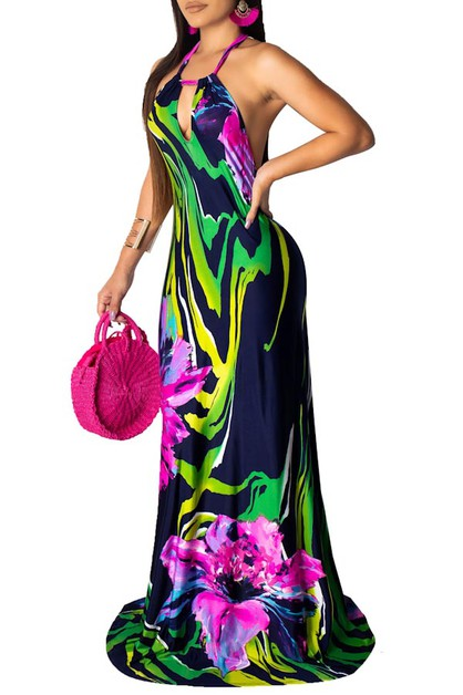 FLORAL MAXI DRESS HALTER NECK SLEEVE - orangeshine.com