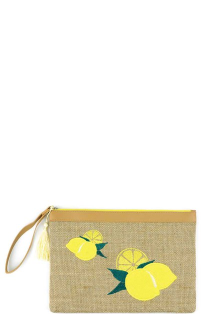 LEMON EMBROIDERED POUCH - orangeshine.com