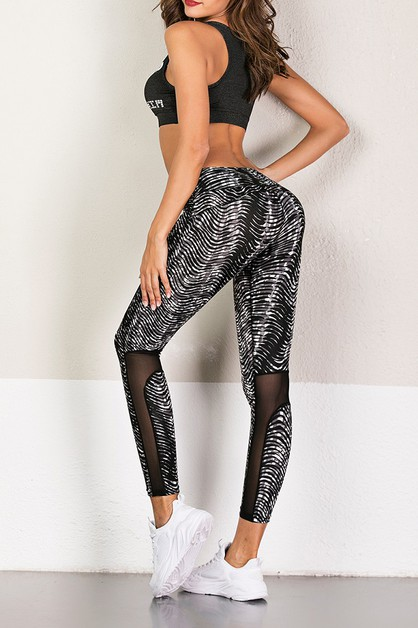 MESH DETAIL FITNESS YOGA LEGGING - orangeshine.com