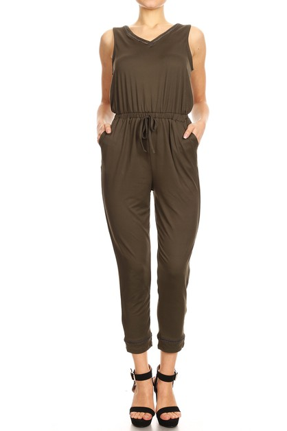 Solid Brush Crop jumpsuits Overalls - orangeshine.com