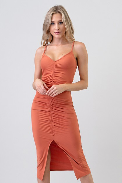 FRONT RUCHING SLIT CAMI MIDI DRESS - orangeshine.com