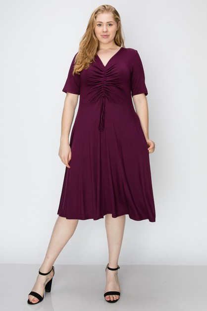 Plus Size Knit Solid  Midi Dress - orangeshine.com