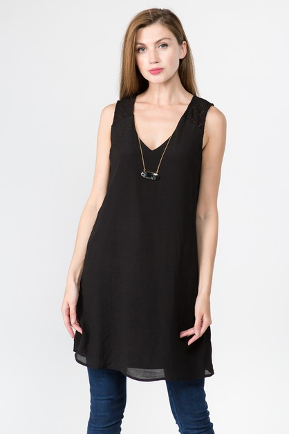 V NECK SLEEVELESS TUNIC WITH NECKLAC - orangeshine.com