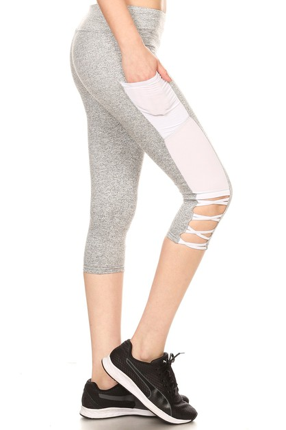 Criss Cross Sports Capris Leggings - orangeshine.com