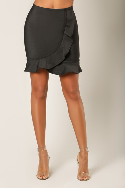 Ruffle Wrap Mini Bandage Skirt - orangeshine.com