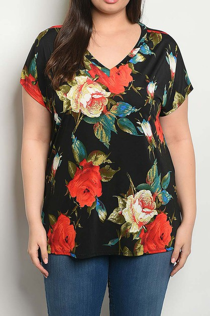 FLORAL V NECK PLUS BLOUSE TOP - orangeshine.com