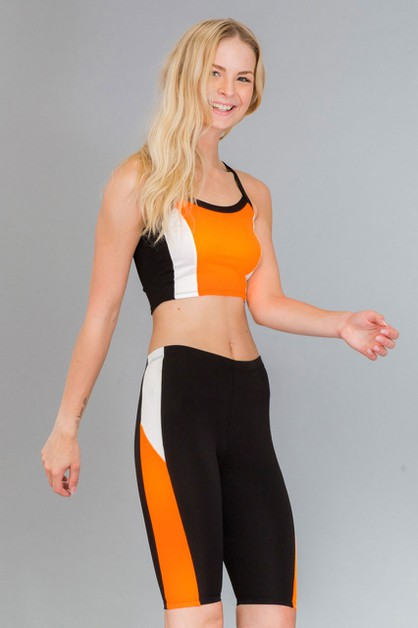 Color Block Cropped Top and Short - orangeshine.com