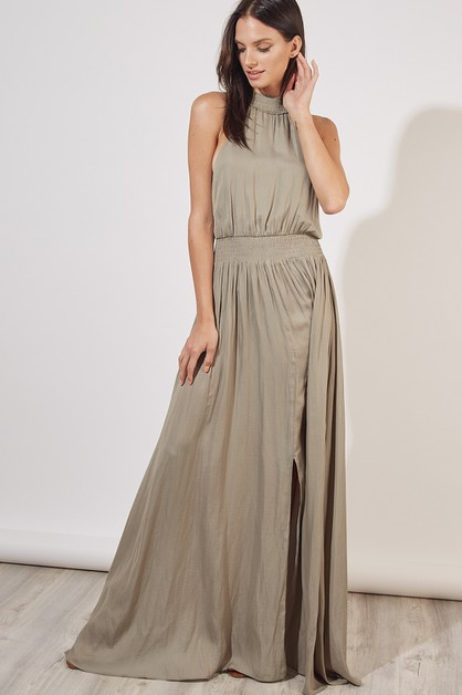 NECK  WAIST SMOCKED MAXI DRESS - orangeshine.com
