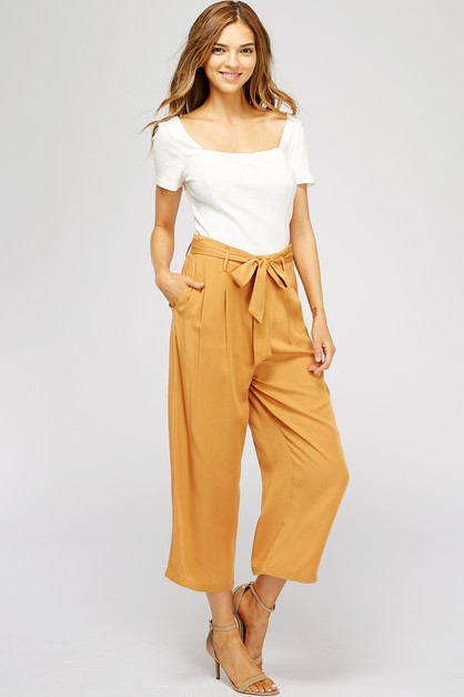 RAYON BELTED WIDE LEG PANTS - orangeshine.com