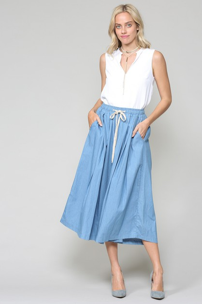 CHAMBRAY POCKET BAND TIE CULOTTES - orangeshine.com