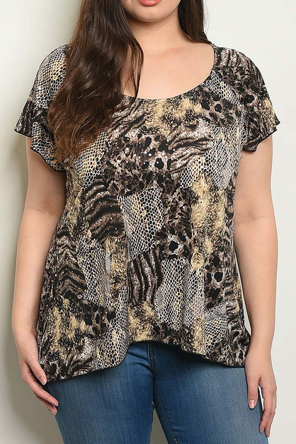 ANIMAL PRINT PLUS BLOUSE TOP - orangeshine.com