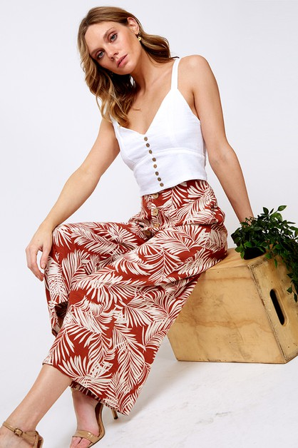 BUTTONED LEAF PRINT PANTS - orangeshine.com