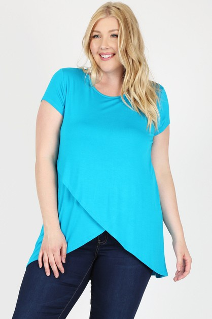Overlap Crossed Round Neck Solid Top - orangeshine.com