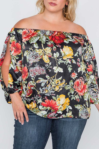 OPEN SLEEVE OFF SHOULDER FLORAL TOP - orangeshine.com