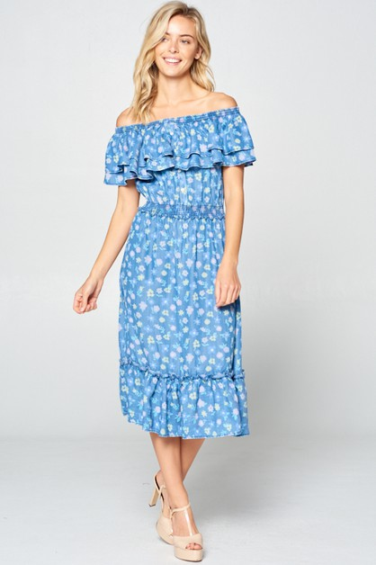 CHAMBRAY OFF SHOULDER MIDI DRESS - orangeshine.com