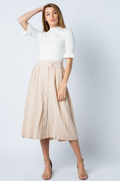 WOVEN MIDI SKIRT WITH SIDE PLACKET - orangeshine.com