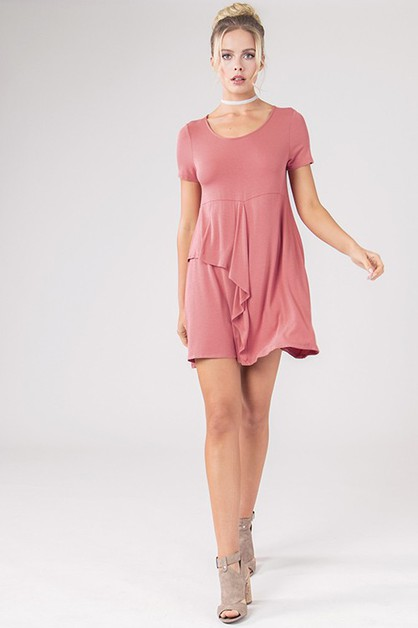 Tee Swing Ruffle Dress - orangeshine.com
