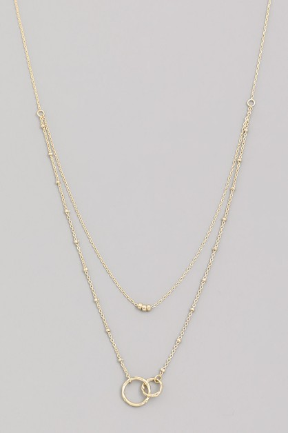 Dainty Layered Ring Charm Necklace - orangeshine.com