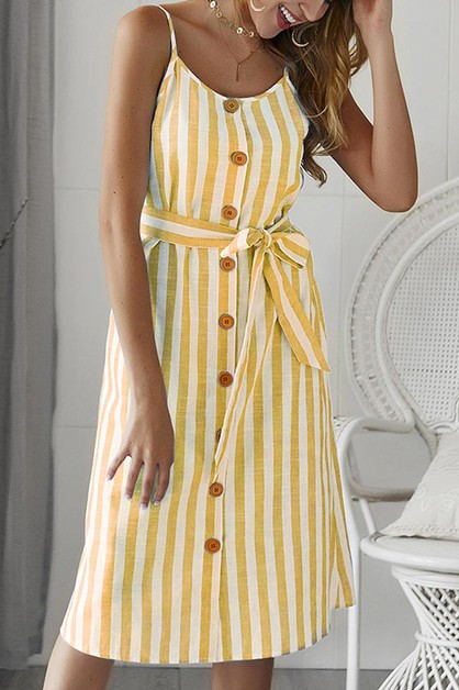 MIDI DRESS STRIPE ROUND NECK SLEEVEL - orangeshine.com