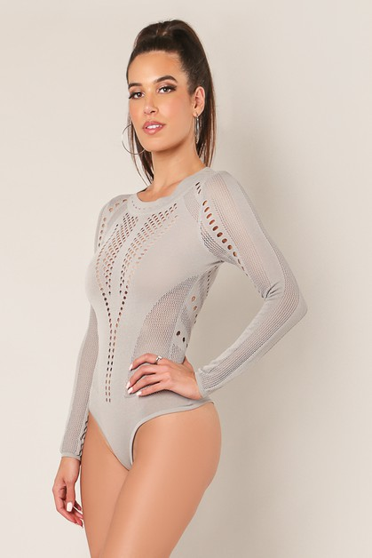 Sheer Detail Sweater Bodysuit - orangeshine.com