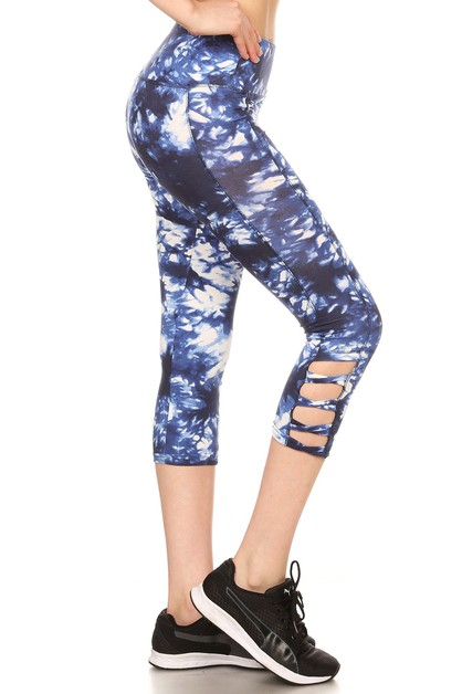 Navy Cross Sports Capris Yoga Pants - orangeshine.com