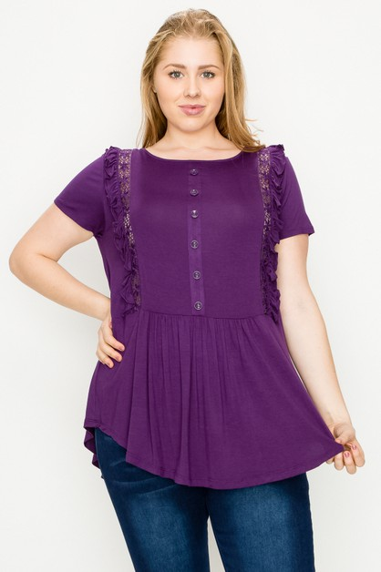 Plus Size Ruffle Solid Tunic Top - orangeshine.com