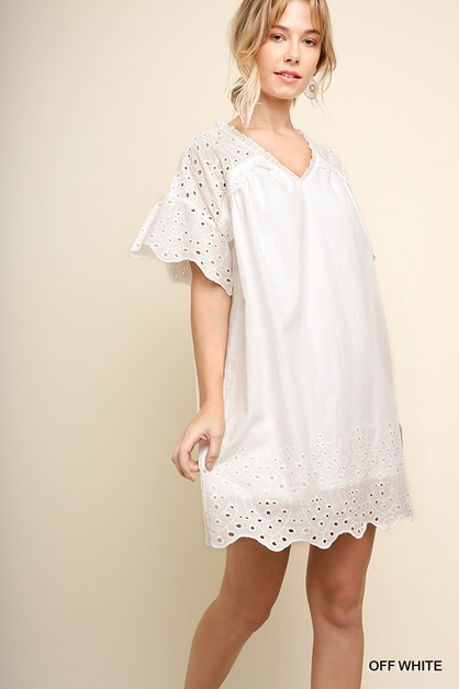 Eyelet Lace Short Bell Sleeve Dress - orangeshine.com