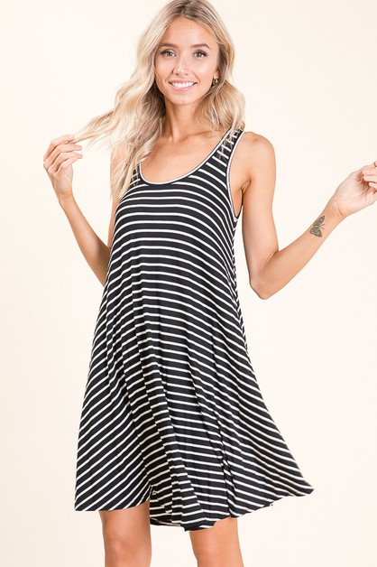 LOOSE FIT STRIPE TANK DRESS - orangeshine.com