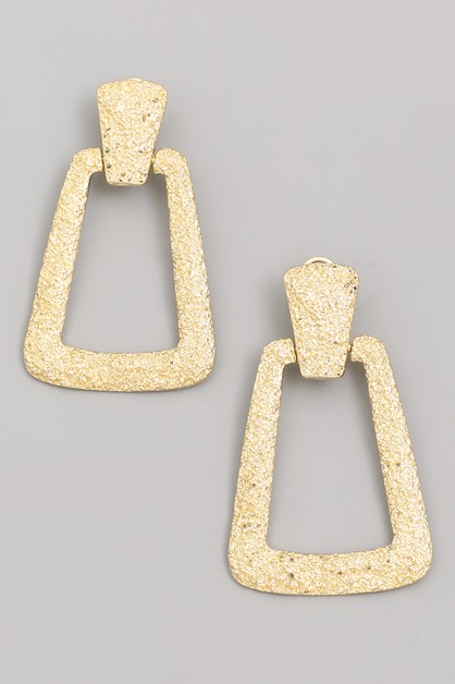 Textured Rectangle Drop Earrings - orangeshine.com