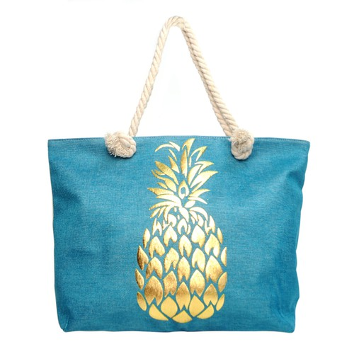 Blue and Gold Pineapple Ladies Tote  - orangeshine.com