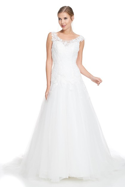Cap Sleeve Bridal Dress - orangeshine.com