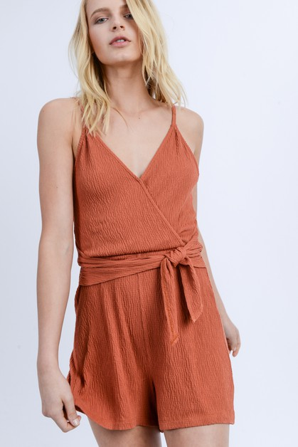 Sleeveless V Neck Cami Romper - orangeshine.com