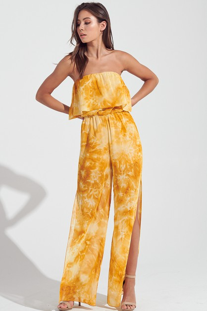 TIE DYE SIDE SLIT JUMPSUIT - orangeshine.com