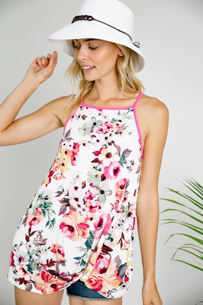FLORAL LOOSE FIT CAMISOLE TUNIC TOP - orangeshine.com