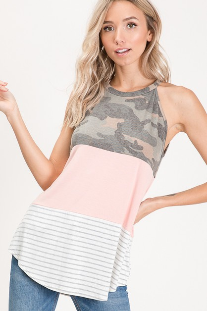 COLOR BLOCK CAMO PRINT HALTER TOP - orangeshine.com
