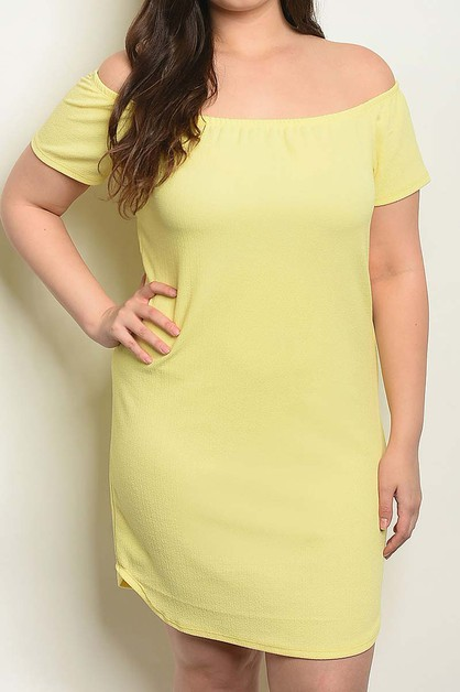 OFF SHOULDER SOLID PLUS TUNIC DRESS - orangeshine.com