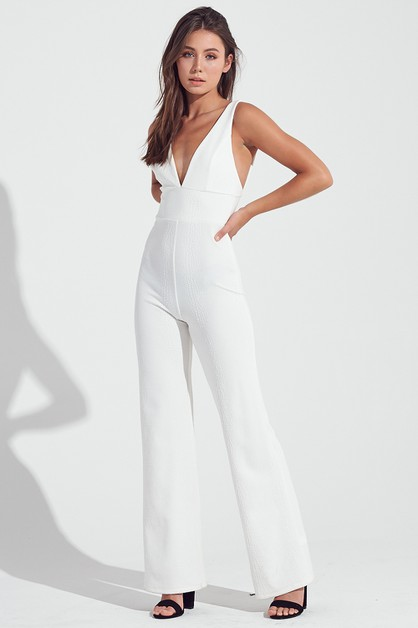 DEEP V-NECK JUMPSUIT - orangeshine.com