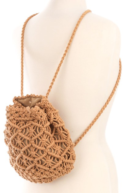 Crochet Knit Drawstring Backpack - orangeshine.com